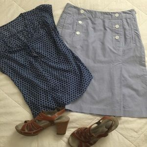 Talbots oxford classic/vintage look button skirt